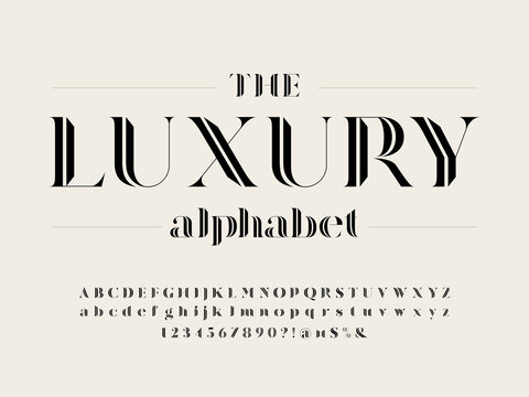 Modern gothic display alphabet design with uppercase, lowercase, numbers and symbol