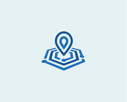 Linear place mark icon, flat style vector logo concept. Geometric lines search tech business, isolated icon on white background. Point on map sign for business and development startup