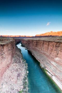 Colorado river passes through the arid desert near Nabajo bridge, AZ