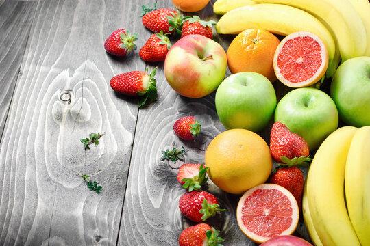 Healthy fresh vegetarian food, organic fuits on the table