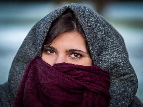 Portrait of Young Brunette Caucasian Girl in Winter