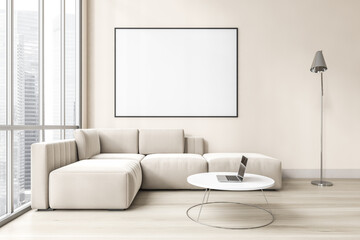 Obraz Mockup canvas in light living room with white sofa on parquet floor - fototapety do salonu