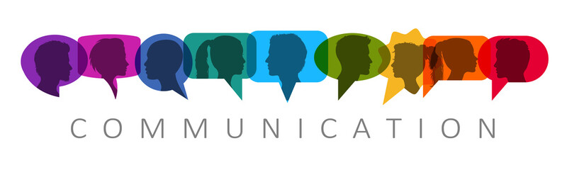 People speech, discussion, meeting, dialogue. Communicate on social networks concept. Silhouette heads people inside speech bubble communicating - stock vector