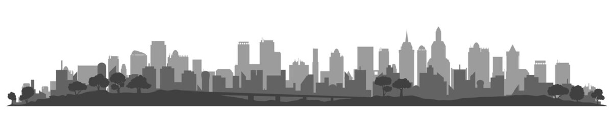 City silhouette, cityscapes, town panorama - stock vector - fototapety na wymiar