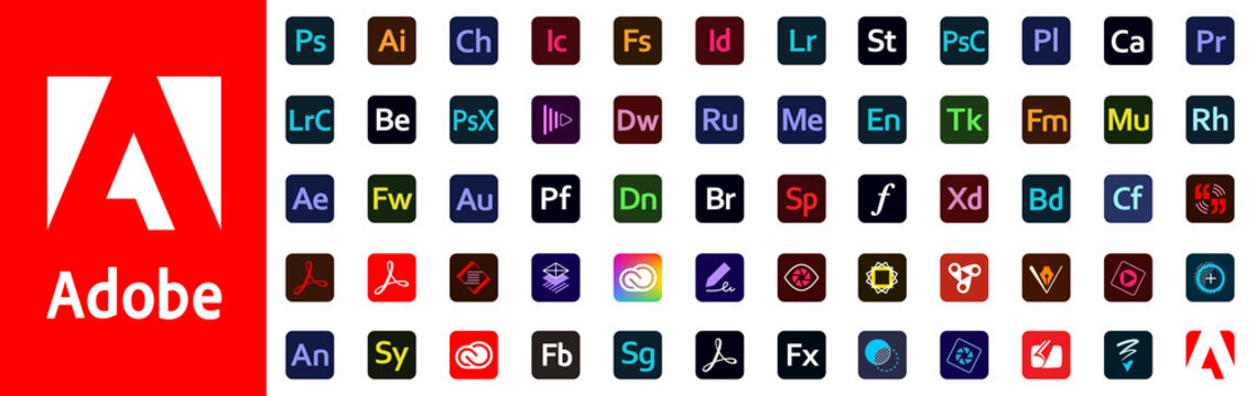 Kiev, Ukraine - January 15, 2021: Set button icons Adobe products: Photoshop, Illustrator, InDesign, Acrobat DC, Premiere Pro, Lightroom, After Effects, Dreamweaver, Creative Cloud. Editorial vector.