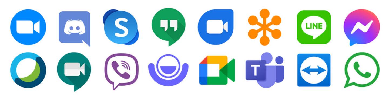 Kiev, Ukraine - January 15, 2021: Best online video conferencing software. Zoom, Skype, Google Duo, Meet, Cisco Webex, Discord, Google hangouts, GoToMeeting. Remote meeting service. Editorial vector