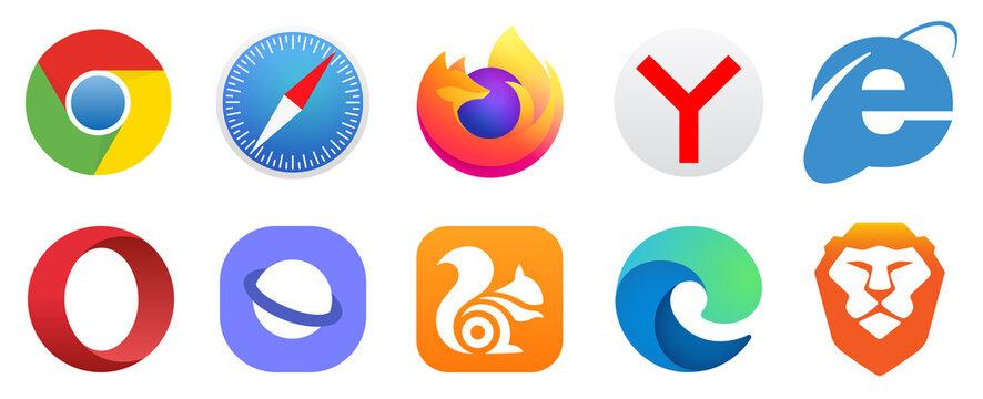 Kiev, Ukraine - January 15, 2021: Set popular logos internet browser. Google Chrome, Mozilla Firefox, Microsoft Edge, Internet Explorer, Safari, Opera, Yandex, Brave, UC Browser. Editorial vector