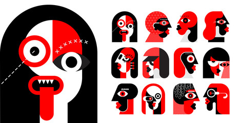 Red and black colors isolated on a white background Twelve Portraits of Different People vector illustration. Set of flat design vector avatars.