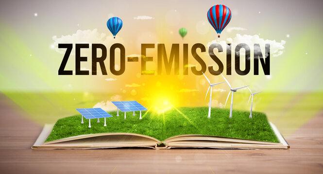 Open book with ZERO-EMISSION inscription, renewable energy concept
