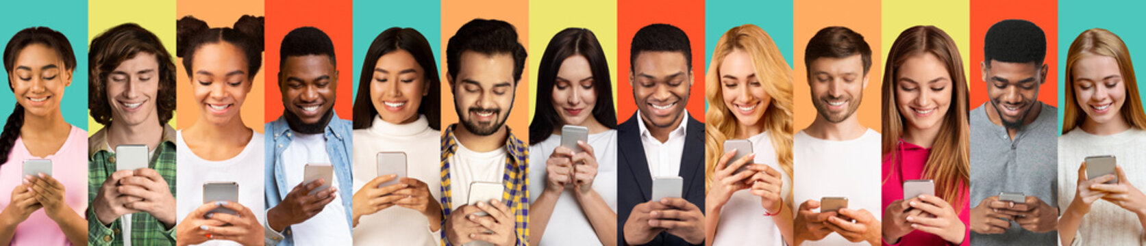 Young People Using Smartphones Texting On Different Colorful Backgrounds, Collage