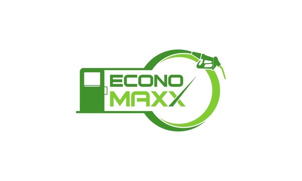 modern natural refueling of econo maxx logo design