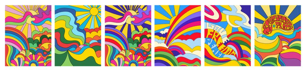 Fototapeta Set of 6 brightly colored psychedelic landscapes obraz