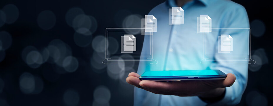 man holding tablet with document icon