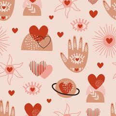seamless pattern with love boho hand, sun, eye