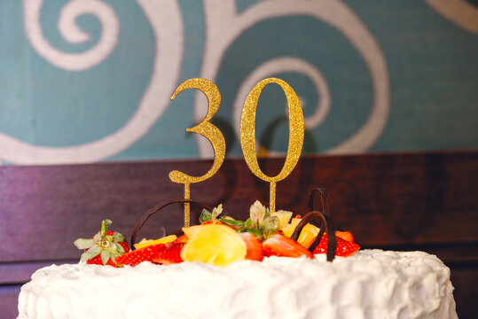 Birthday cake 30 years with fruits and glitter