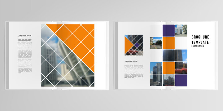 3d realistic vector layout of cover mockup templates for A4 bifold brochure, cover design, book, magazine, brochure cover. Abstract design project in geometric style with squares and place for a photo