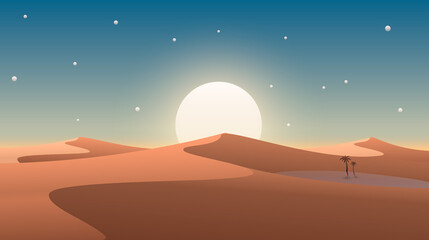 Desert cover with oasis and palm trees. Nature background. Vector