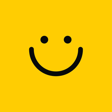Smile icon. Face Smiling logo on yellow background. Vector illustration. EPS10