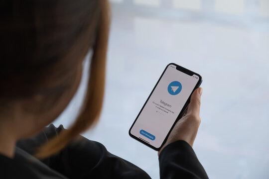 CHIANG MAI, THAILAND, JAN 18, 2021: Telegram application icon on Apple iPhone X screen close-up. Telegram app icon. Telegram is an online social media network. Social media app