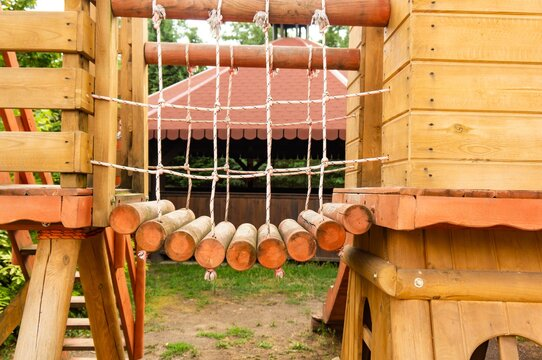 Playground made of wood for the children in the park