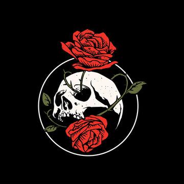 skull and rose flower artwork