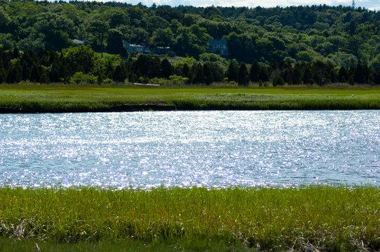 South River Marshfield Massachusetts with green grass