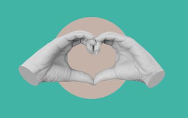 Digital collage modern art, Hands making Heart symbol