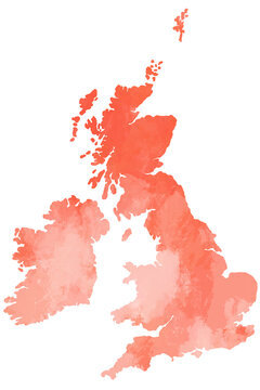 United Kingdom and Ireland map water color illustration styles.