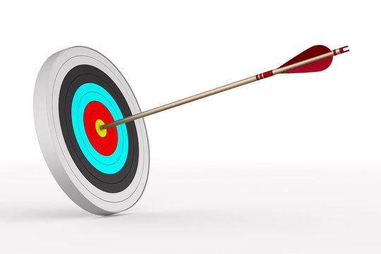 Arrow and target on white background. Isolated 3D illustration