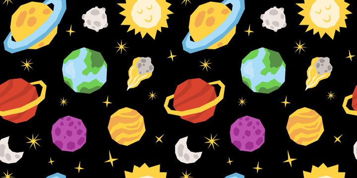 Space celestial seamless pattern, cartoon planet or solar system kids digital paper with sun, moon, comet and stars, nursery seamless background for textile, scrapbooking, wrapping paper, wallpaper