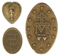 Fototapeta Miraculous Christian Antique Bronze Medals of Mary obraz