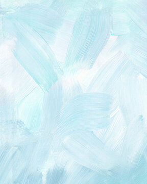 Mint art background. Large brush strokes. Acrylic paint in light green or turquoise, white and celadon colors. Abstract painting. Textured surface template for banner, poster. Vertical illustration
