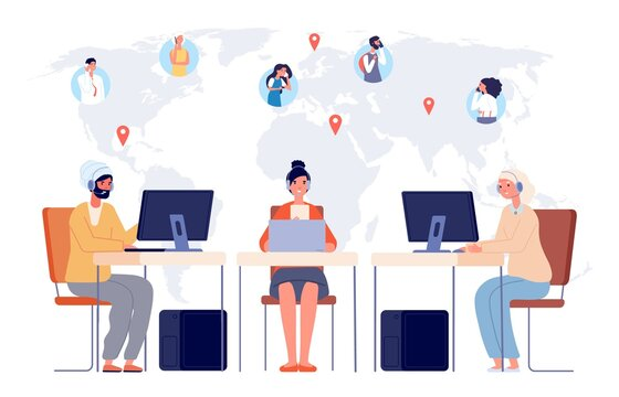 Worldwide call center. Contact help service, international multilingual consult for different customers vector concept. Call help service, support international consultation illustration