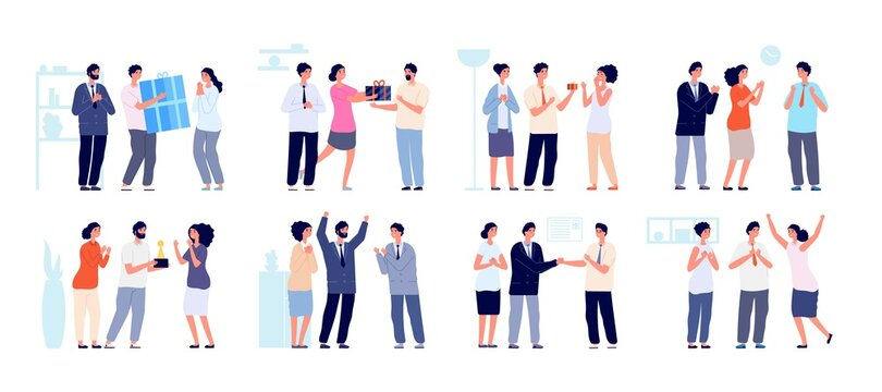 Colleagues clapping. Thankful business people, man woman support employees. Office enthusiastic characters clap in hands utter vector set. Business people support and celebration illustration
