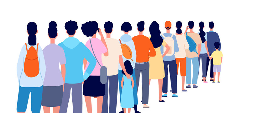 People standing in line. Isolated crowd, queue group back stand. Person wait shopping, airport registration or ticket utter vector concept. People line queue, crowd stay in row illustration