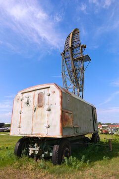 Retro military vehicle with radar mounted on the roof. Soviet-era military locator, Russia