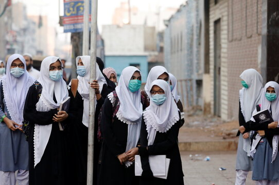 Secondary schools reopen amid the second wave of the coronavirus disease (COVID-19) outbreak, in Karachi