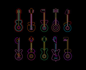 Neon colors isolated on a black background Line Art Neon Icon Set vector design. Ten different guitars silhouettes, each icon is on a separate layer.
