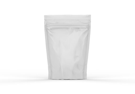 White blank foil food doy pack stand up pouch bag packaging with zipper, mockup template on isolated white background, 3d illustration