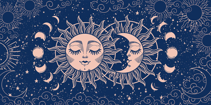 Magic background for tarot, astrology, magic. The device of the universe, crescent moon and sun with a face on a blue background. Esoteric vector illustration
