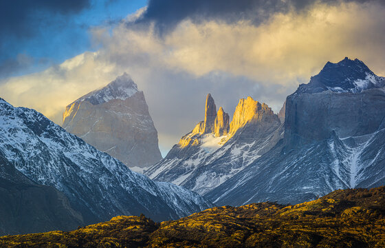 sunset over the mountain range of Torres del Paine