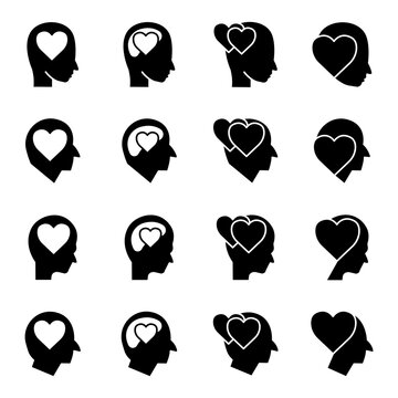 Head with heart icon set. In love symbol. simple design editable. Design template vector
