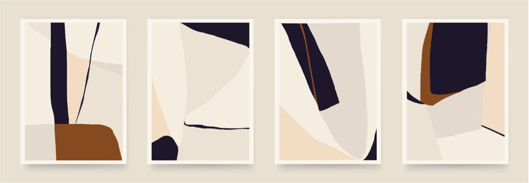Set of minimalist abstract aesthetic illustrations. Modern style wall decor. Collection of contemporary artistic posters.