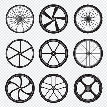Bike wheels. Motor bicycle round shapes circle stylized fitness activity symbols.. Rubber gear wheel to bicycle, mountain bike circle illustration