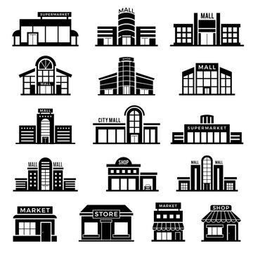 Supermarket facade. Retail shop exterior commercial mall buildings recent vector icons collection of store. Retail exterior building, storefront boutique, structure architecture illustration