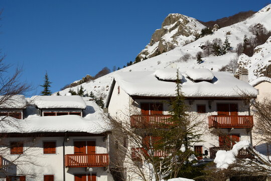 Chalets at winter. Rocca d'Aveto. Liguria. Italy