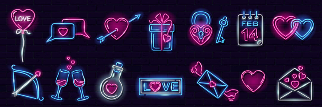 Set of neon Valentine's Day icons on dark brick wall background: heart with arrow, letter, chat, gift box, heartshape balloon. Love, romance, wedding concept. Vector 10 EPS illustration.