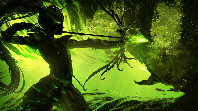 The black silhouette of a young elf hunter in a green forest, she stands in a fighting position with a stretched magic arrow, ready to hit her target, on her side the spirit cat raring to fight. 2d