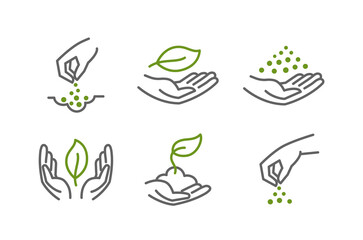 Fototapeta Set of icons. Growing seedlings plant shoots in hand. Sowing seeds. Environmental protection. Vector contour green line.