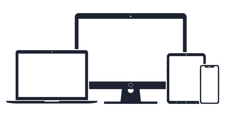 Obraz Set of digital devices icons vector illustration of responsive web design - fototapety do salonu